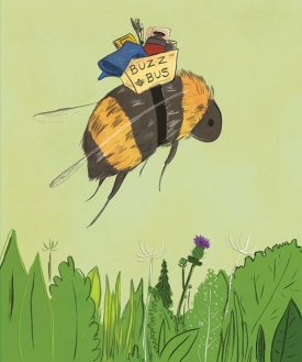 "Illustration for SCAD's ""Buzz Buz,"" a charitable donation event to collect art supplies for Savannah area schools."
